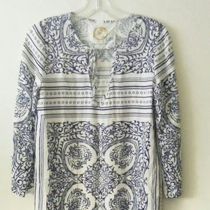 Blue Life XS Blue & White Beach Cover Up Dress
